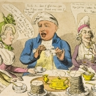 A satirical cartoon on the reluctant attitude of the British aristocracy to give up sugar and rum in support of the abolition of the slave trade. King George III and his family sit around a breakfast table, expressing their disdain at having their sugar supply rationed. England, 1792