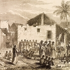 An engraving from The Illustrated London News depicts Arab merchants bartering over African slaves at a market in Zanzibar. Zanzibar was the hub of the East African slave trade, transporting thousands of slaves to Arabia and Asia each year. Zanzibar (Tanzania), 1872